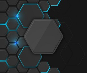 Black hexagon carbon fiber background vectors 01