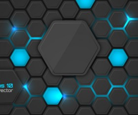 Black hexagon carbon fiber background vectors 03