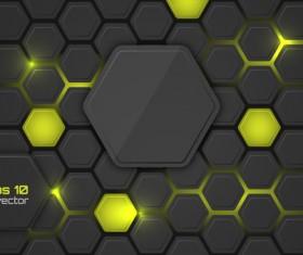 Black hexagon carbon fiber background vectors 04