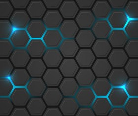 Black hexagon carbon fiber background vectors 05