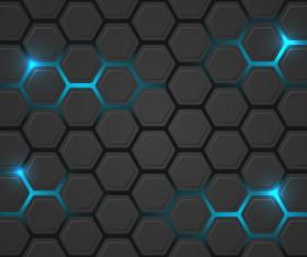 Black hexagon carbon fiber background vectors 05