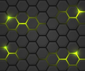 Black hexagon carbon fiber background vectors 06