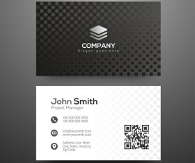 Black pattern business cards design vector