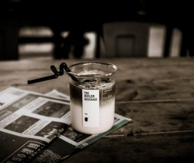 Black white picture of tasty drink on table Stock Photo