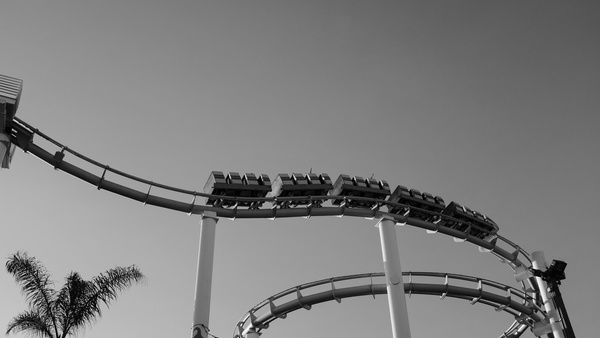 Black white picture roller coaster Stock Photo