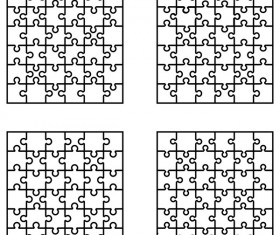 Blank puzzle templates vector material 02