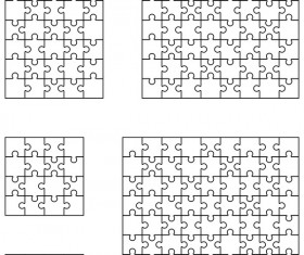Blank puzzle templates vector material 03