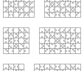Blank puzzle templates vector material 04