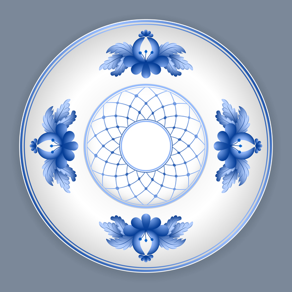 Blue and white porcelain plate vector 01