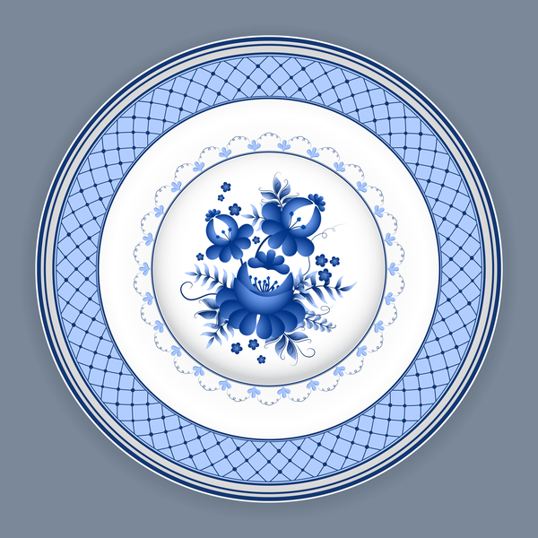 Blue and white porcelain plate vector 02