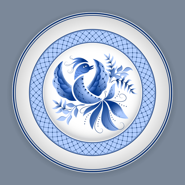 Blue and white porcelain plate vector 03