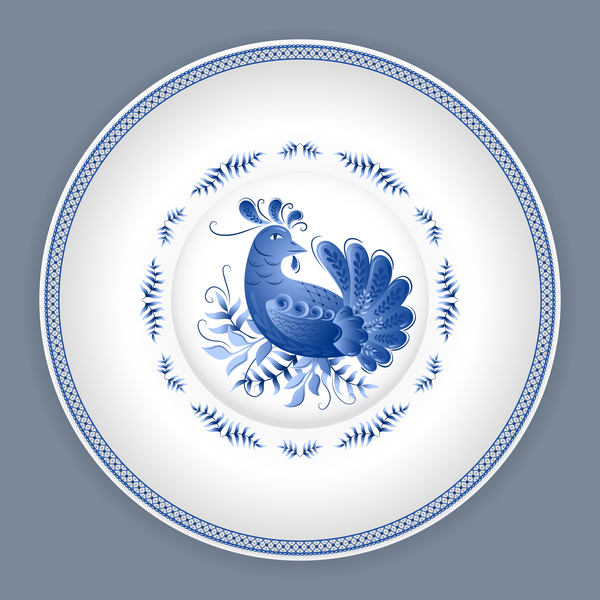Blue and white porcelain plate vector 04