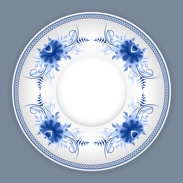Blue and white porcelain plate vector 05