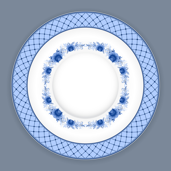 Blue and white porcelain plate vector 06