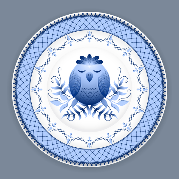 Blue and white porcelain plate vector 07