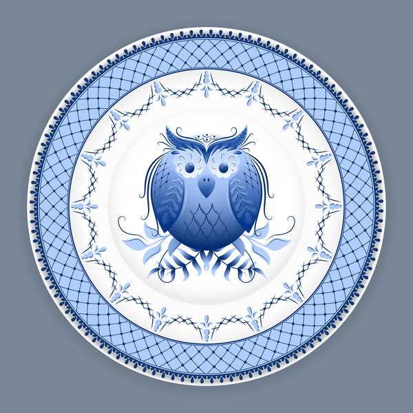Blue and white porcelain plate vector 08