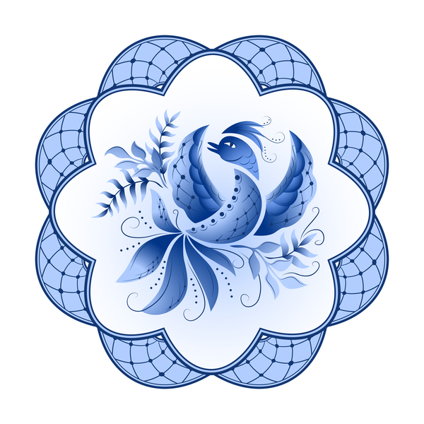 Blue and white porcelain plate vector 09