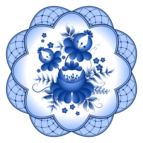 Blue and white porcelain plate vector 10