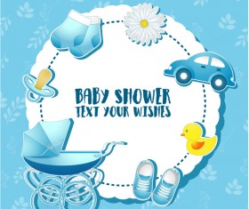 Blue baby shower cards vectors 01