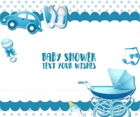Blue baby shower cards vectors 02