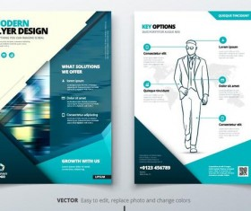 Blue business brochure cover vector material 01