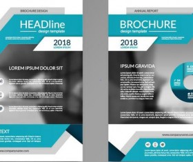 Blue business brochure cover vector material 02