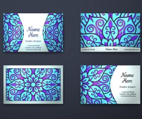 Blue decorative pattern business card vector 01