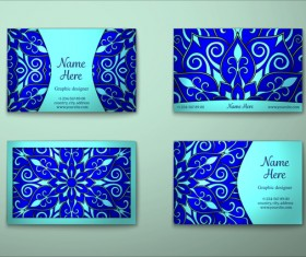 Blue decorative pattern business card vector 02