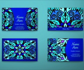 Blue decorative pattern business card vector 03