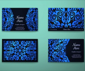 Blue decorative pattern business card vector 04