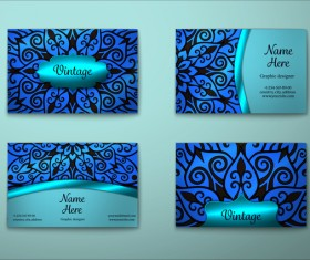 Blue decorative pattern business card vector 05