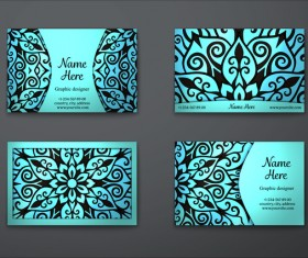 Blue decorative pattern business card vector 06