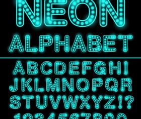 Blue neon lights alphabet with number vector