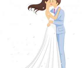 Bride and groom kiss vector