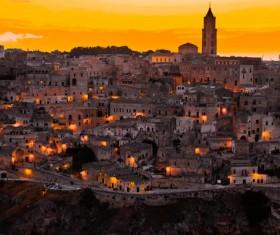 Bright ancient town at dusk Stock Photo