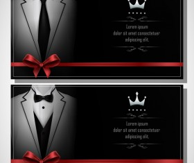 Business cards template with red bows vector 01