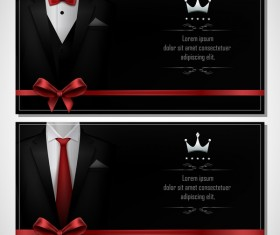 Business cards template with red bows vector 02