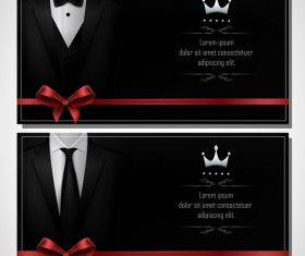 Business cards template with red bows vector 05
