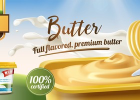 Butter advertising poster vector 03