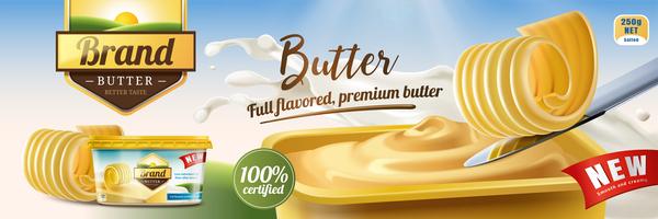 Butter advertising poster vector 03