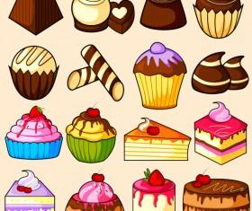 Cake hand drawing vectors set