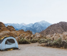 Camping tents in the mountains Stock Photo