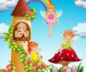 Cartoon fairytale world with fairy vector