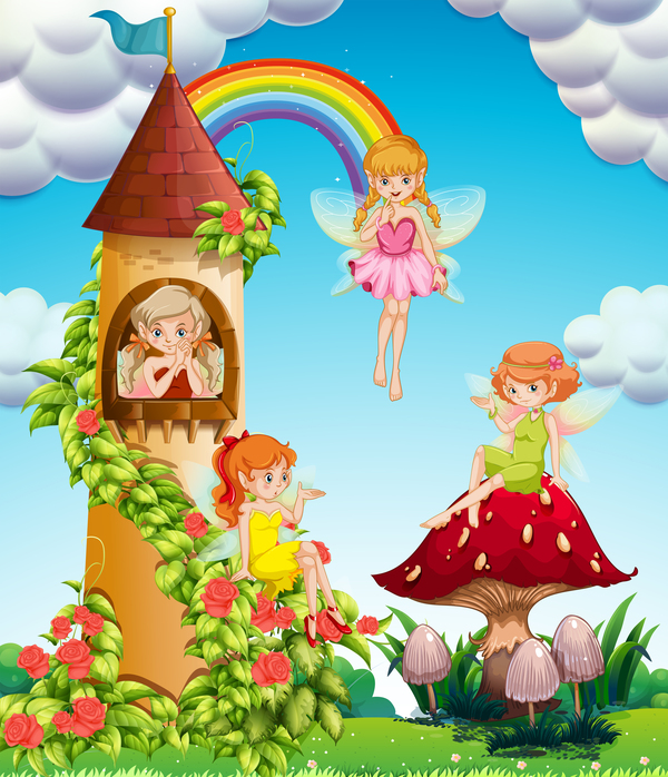 Cartoon fairytale world with fairy vector