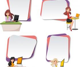 Cartoon people with paper banner vectors 03