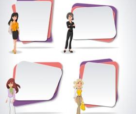 Cartoon people with paper banner vectors 04