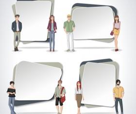 Cartoon people with paper banner vectors 05