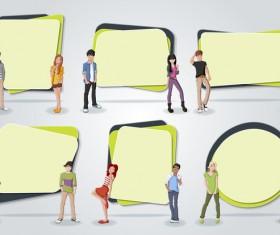 Cartoon people with paper banner vectors 06
