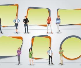 Cartoon people with paper banner vectors 07