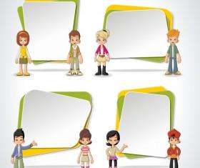 Cartoon people with paper banner vectors 08